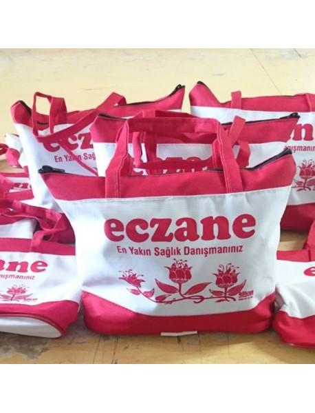 Kırmızı Fermuarlı Bez Çanta 33*22 Impertex Kumaş