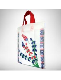 Osmanlı Lalesi Desenli Kendinden Saplı Bez Çanta