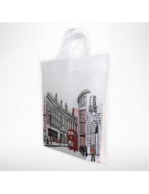Şehir Desenli Kendinden Saplı Bez Çanta